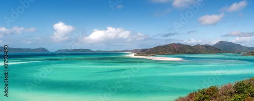 Fototapeta Panoramic view of beautiful white heaven beach with copy space