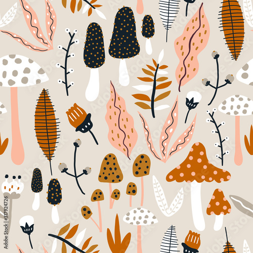 Fotografie, Obraz Seamless woodland pattern with mushrooms and floral elements