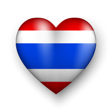 Thailand Flag In 3D Heart Shap...