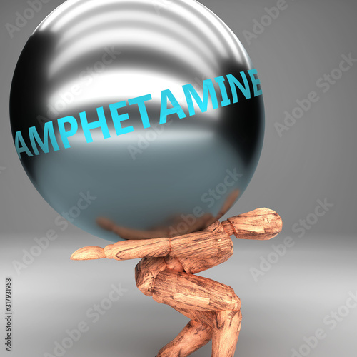 Photo Amphetamine as a burden and weight on shoulders - symbolized by word Amphetamine