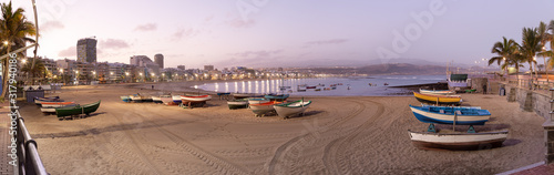 Panoramic views of the sunrise on Las Canteras beach in Las Palmas de Gran Canaria, canary islands, Spain. .Canary and beach holidays concept.