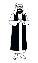 Jewish Man In Old Clothes. Vector Drawing
