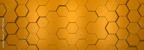 Photo tło złote hexagon render 3d