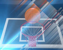 Sports 3d Render  Background From Basketball Backboard And Ball In Lines.  Basketball  Concept.
