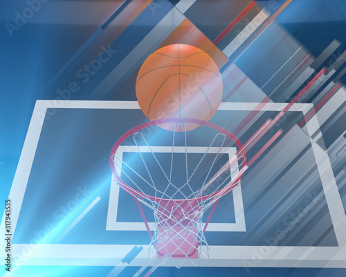 Photo Sports 3d render  background from basketball backboard and ball in lines