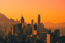 Sunset Sky Over City Skyline Of HongKong / Hong Kong Island