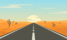 Road In The Desert. Asphalt Hi...