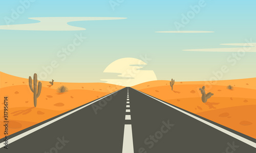 Fototapeta Road in the desert. Asphalt highway with markings in the countryside. obraz