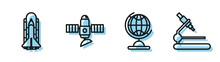 Set Line Earth Globe, Space Sh...