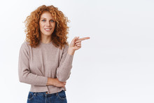 Beautiful Modern Redhead Curly Woman In Blouse, Pointing Right And Smiling, Inviting Guests Check Out Her Favorite Cafe To Hang Out, Advertise Promo, Give Advice What Link Click, Grinning Happy