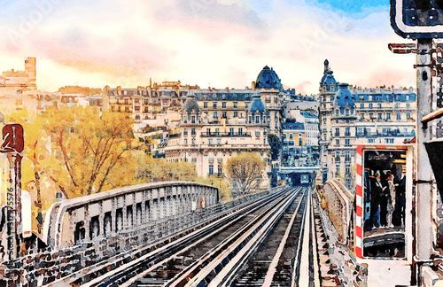 Naklejki na meble Architektura miasta Paryż stylizowana na obraz akwarelowy