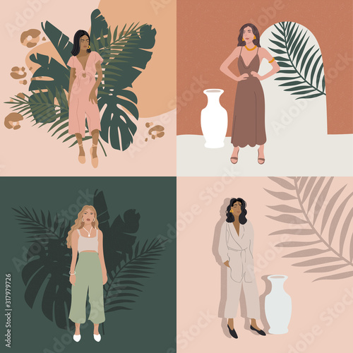 Cuadros en Lienzo Vector illustration fashion girls in modern outfits
