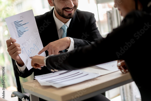 Fototapety, obrazy: Business People Talking Together Discussing Plan Profit of Project