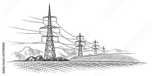 High voltage power line towers monochrome illustration Fototapet