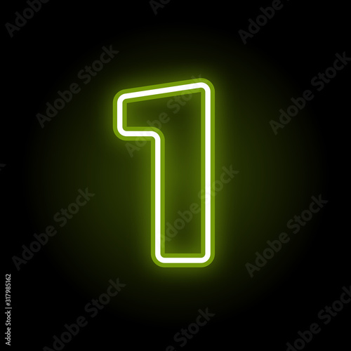 Fototapeta Green neon number 1 with glow on black background. Blur effect is made with mesh. Vector illustration obraz
