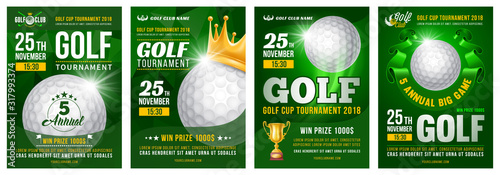 Cuadros en Lienzo Set of golf posters with golf ball