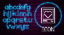 Glowing Neon Line Blanks Photo Frames And Hearts Icon Isolated On Brick Wall Background. Valentines Day Symbol. Neon Light Alphabet. Vector Illustration