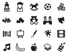 Kindergarten Or Day Care Icons Black & White Set Big