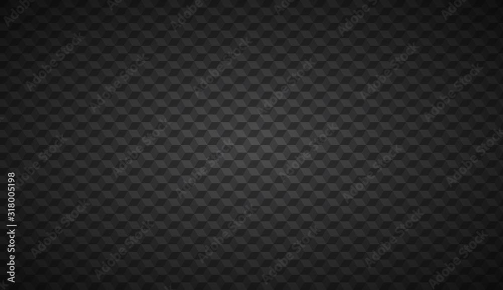 Fototapeta Black abstract cubic background, digital mosaic cube pattern, vector illustration