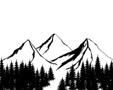 Mountain Landscape With Conifers. Mountains Background. Mountain Landscape Vacation Hiking Concept. Vector Black Illustration On White Isolated.