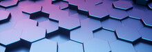 Hexagon Blue And Violet Pattern. Abstract Futuristic Background.