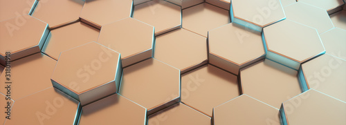 Hexagon bronze pattern. Abstract futuristic background.Blue light - 318011918