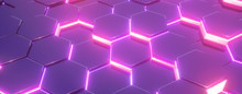 Hexagon Purple Pattern. Abstract Futuristic Background.