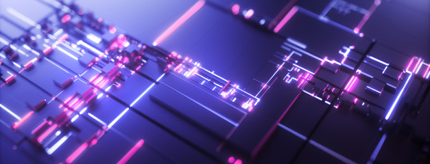 Abstract purple technology background. Futuristic digital motherboard texture. Neon light
