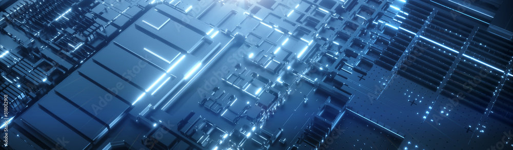 Fototapeta Abstract technology black background. Futuristic digital motherboard texture. Neon blue light
