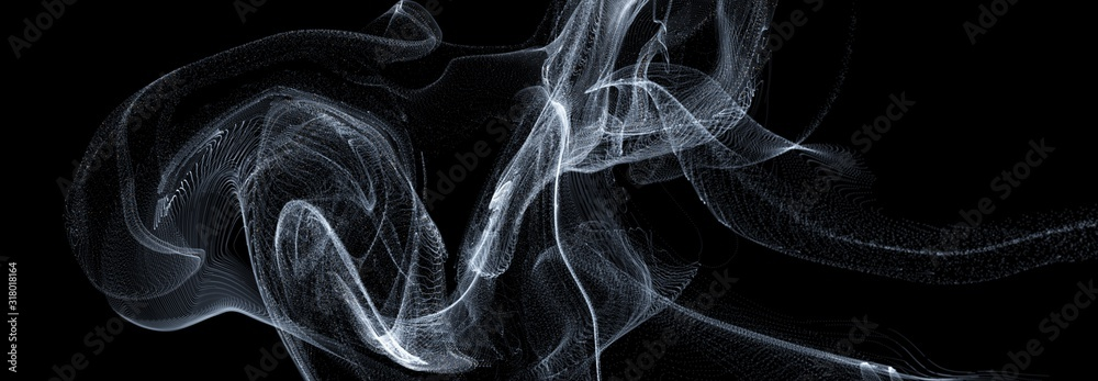 Fototapeta 3D line art wave smoke movement dark overlay backgrounds, abstract black backgrounds.