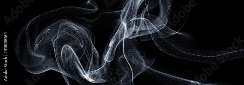 Fototapeta 3D line art wave smoke movement dark overlay backgrounds, abstract black backgrounds. obraz