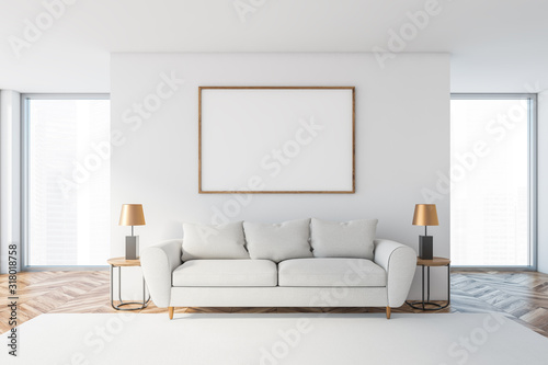 White living room with white sofa and poster Fototapet