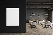 canvas print picture - Industrial style restaurant with poster