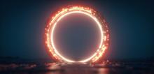 Futuristic Orange Glowing Neon Round Portal. Sci Fi Metal Construction.