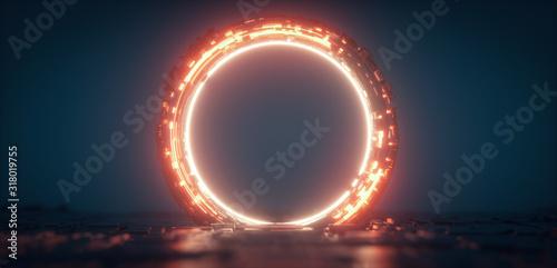 Futuristic orange glowing neon round portal Fototapeta