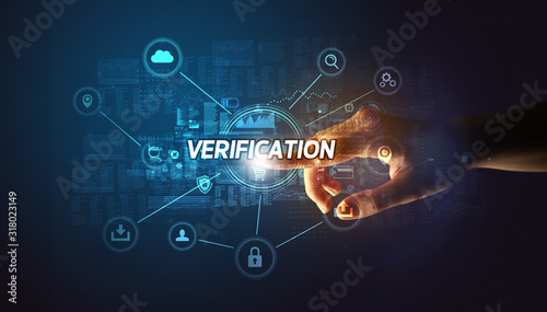 Valokuva Hand touching VERIFICATION inscription, Cybersecurity concept
