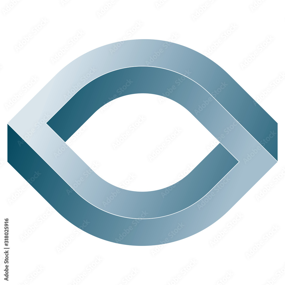 Fototapeta Impossible eye icon. Vector optical illusion shape on white background.