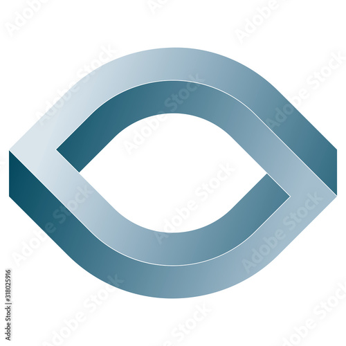 Impossible eye icon. Vector optical illusion shape on white background.