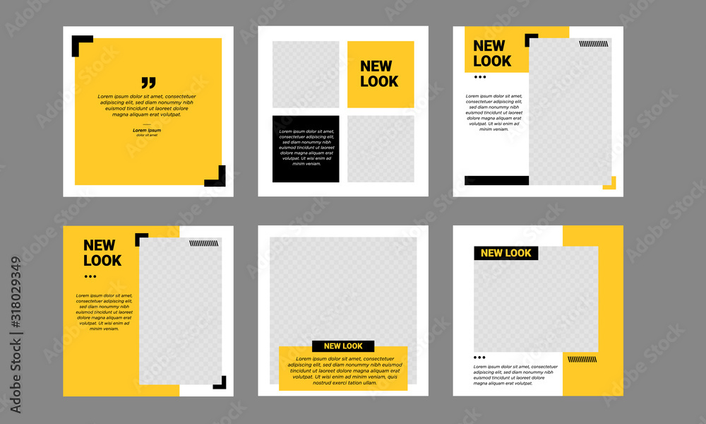 Fototapeta Set of Editable minimal square banner template. Black and yellow background color with stripe line shape. Suitable for social media post and web internet ads. Vector illustration with photo college