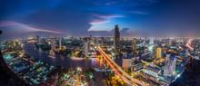 Fish-Eye View Of Illuminated City At Night