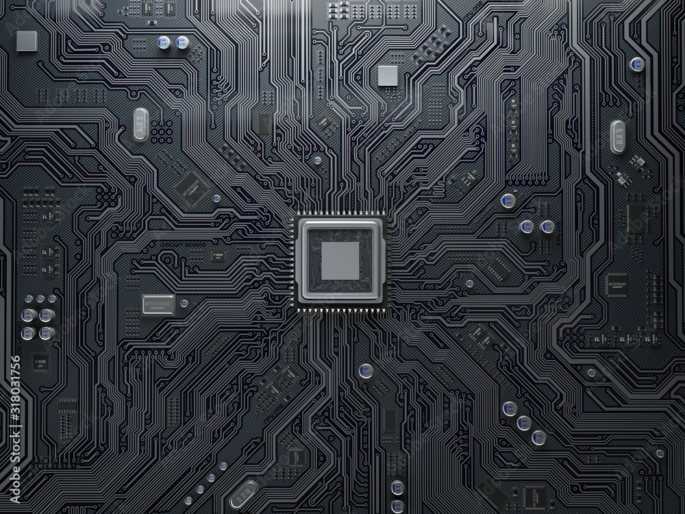 Fototapeta PU chip on circuit board. Black motherboard with central processor chip. Computer hardware tecnology.