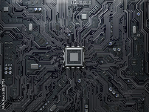 Obraz PU chip on circuit board. Black motherboard with central processor chip. Computer hardware tecnology. - fototapety do salonu