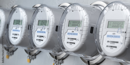 Fotografía Digital electric meters in a row measuring power use