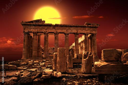 Obrazy Ateny  partenon-na-akropolu-w-atenach-grecja-jest-to-najwazniejszy-punkt-orientacyjny-aten-malowniczy-widok-slynnego