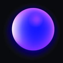 Glowing Neon Sphere On Dark Ba...