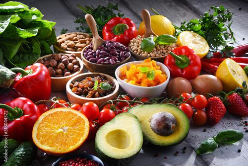 Fototapeta Assorted organic food products on the table