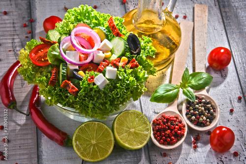 Obraz na plátně Composition with vegetable salad bowl