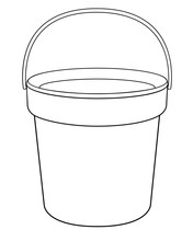 Bucket - A Linear Vector Drawing For Coloring. Plastic Or Metal Bucket - Vector Template For Coloring. Gardening And Household Equipment - Bucket With Handle - Hand Drawing. Outline.