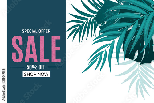 Fototapety, obrazy: Abstract Sale Background with Palm Leaves. Vector Illustration