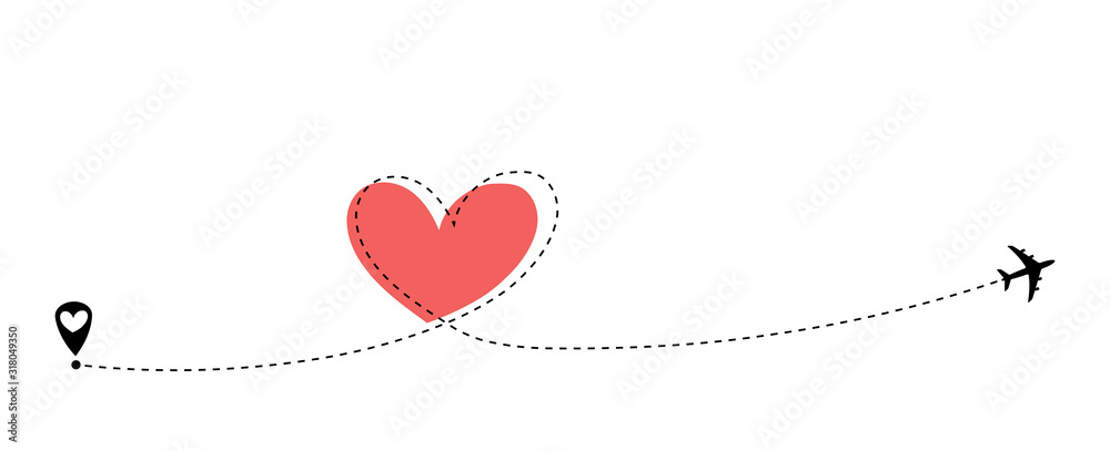 Fototapeta Airplane flying. Dash line heart loop in the sky. Air plane icon. Black silhouette shape. Travel trace. Happy Valentines Day Love romantic card. Flat design. Vector isolated on white background